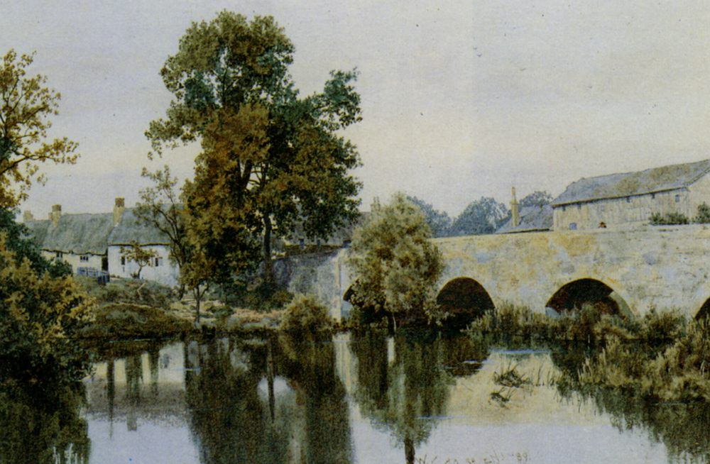 A Stone Bridge Leading into a Village :: William Fraser Garden - River landscapes ôîòî