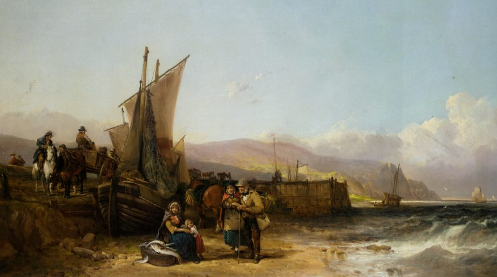 Bargaining for the Catch :: William Shayer, Snr - Sea landscapes with boats ôîòî