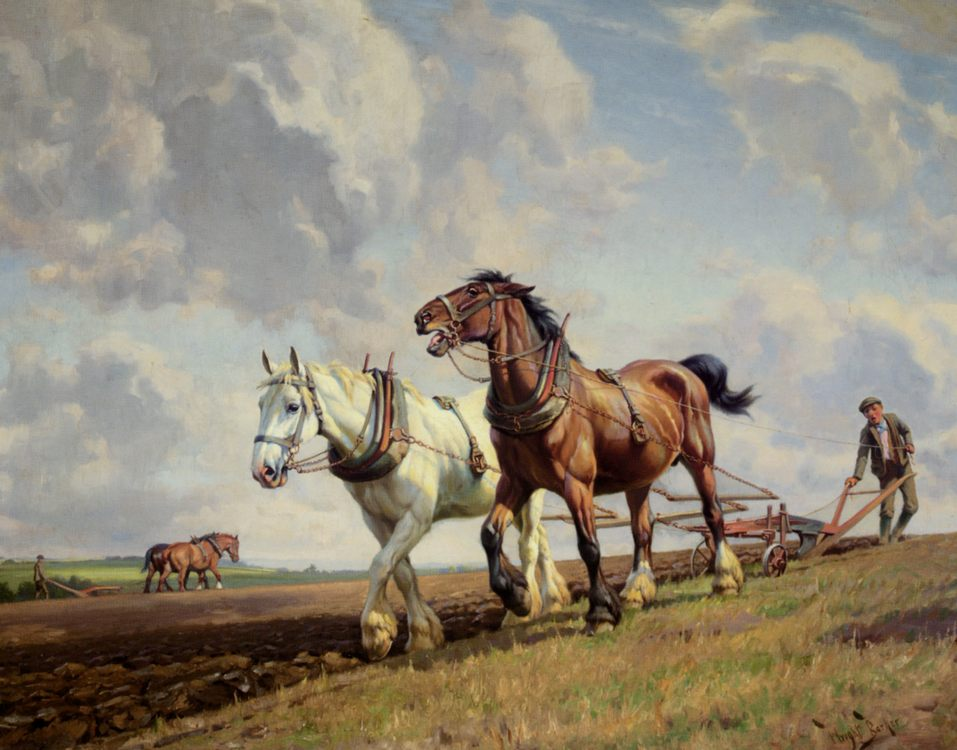 Ploughing The Fields :: Wright Barker  - Horses in art фото