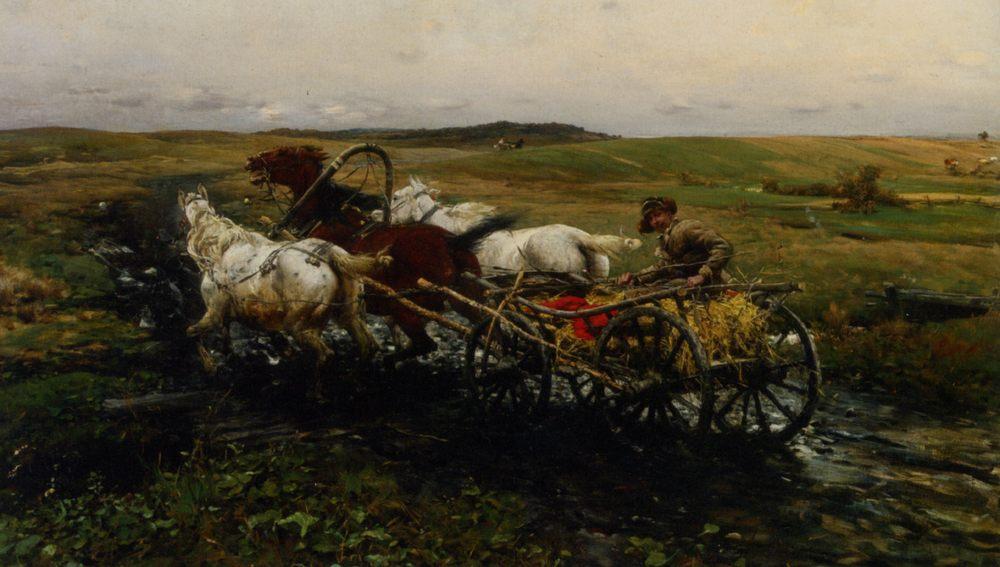 The Race :: Alfred von Kowalski-Wierusz  - Horses in art ôîòî