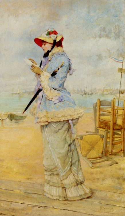 Lady by the Sea :: Frederick Hendrik Kaemmerer - Romantic scenes in art and painting фото