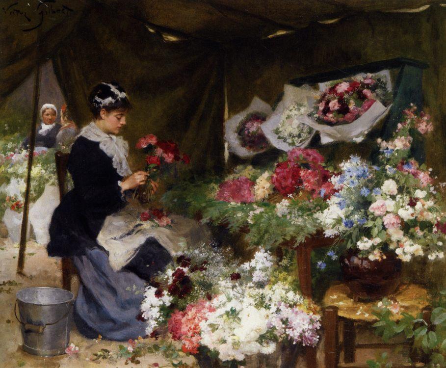 Flower Seller Makiing Bouquets :: Victor Gabriel Gilbert - Street and market genre scenes фото