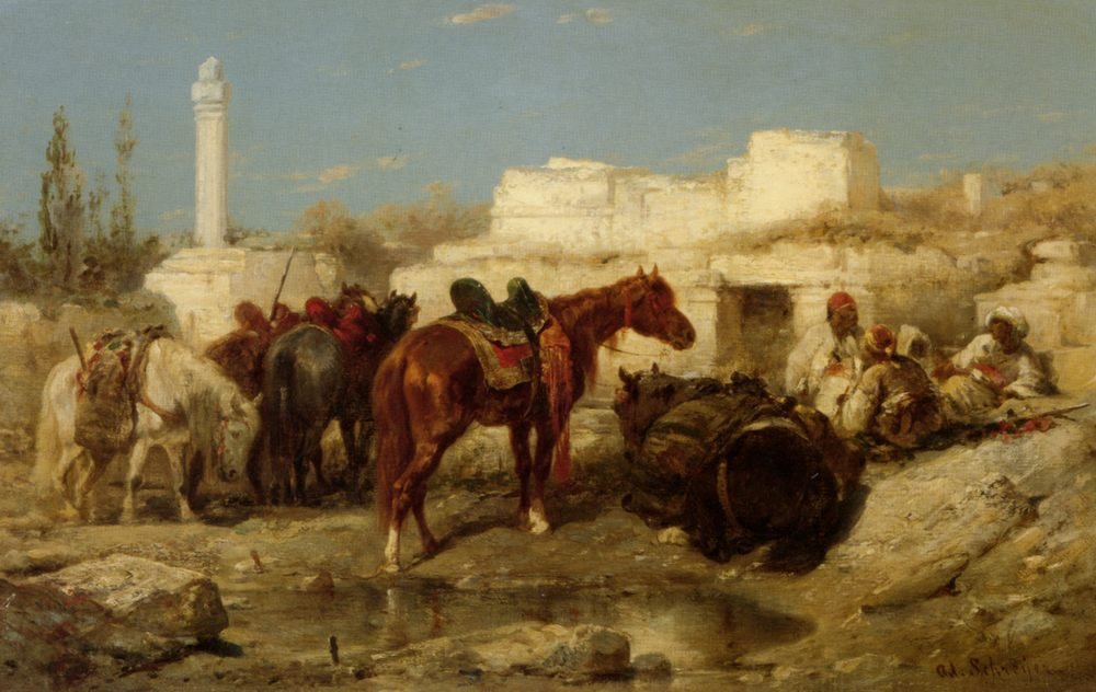 The Oasis :: Adolf Schreyer  - Horses in art фото