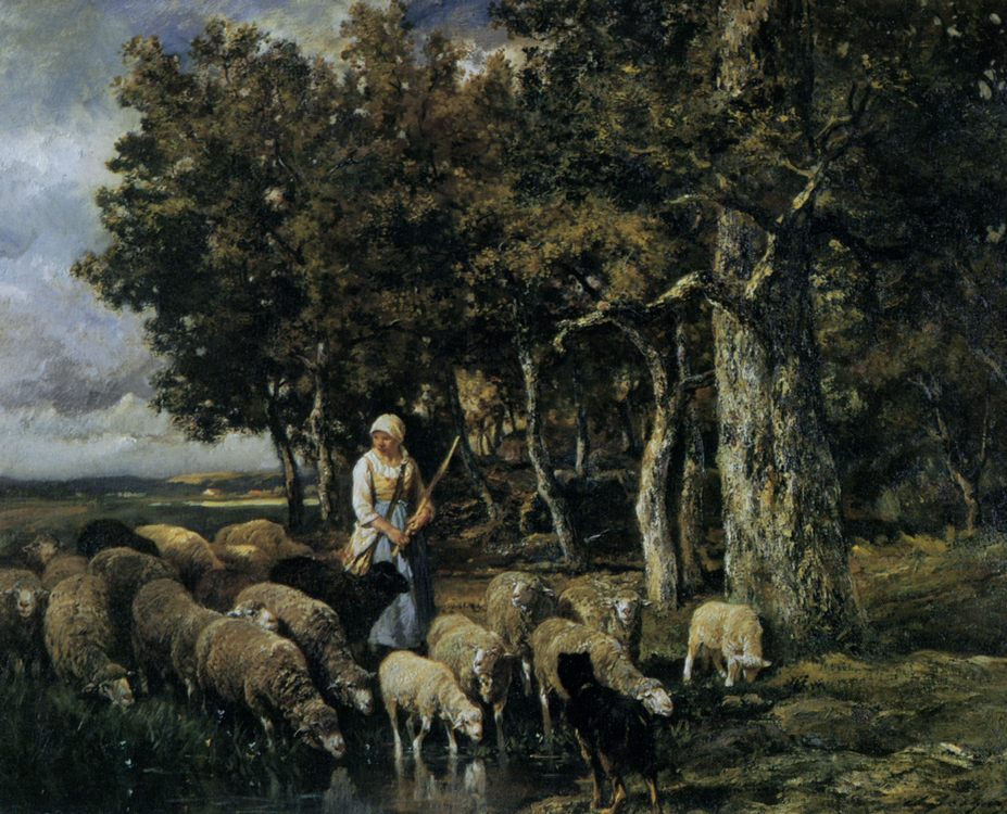 Shepherdess watering flock :: Charles Emile Jacque - Village life фото
