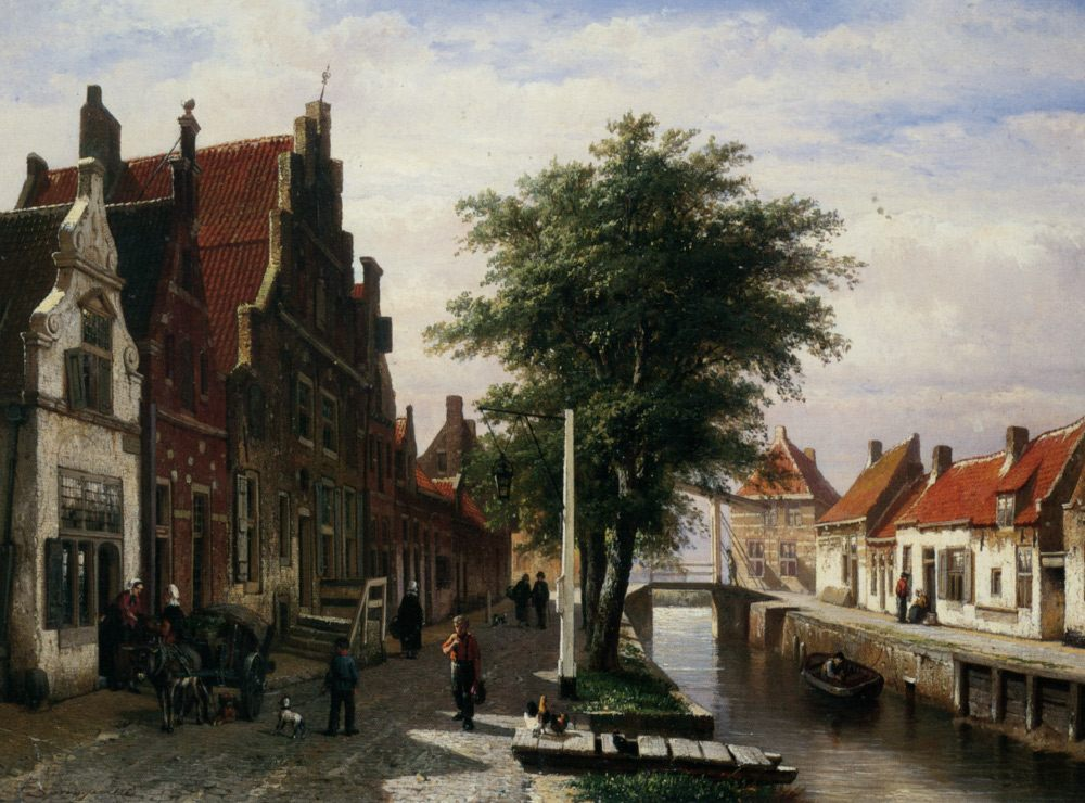 Along the Canal :: Cornelis Springer - Streets фото