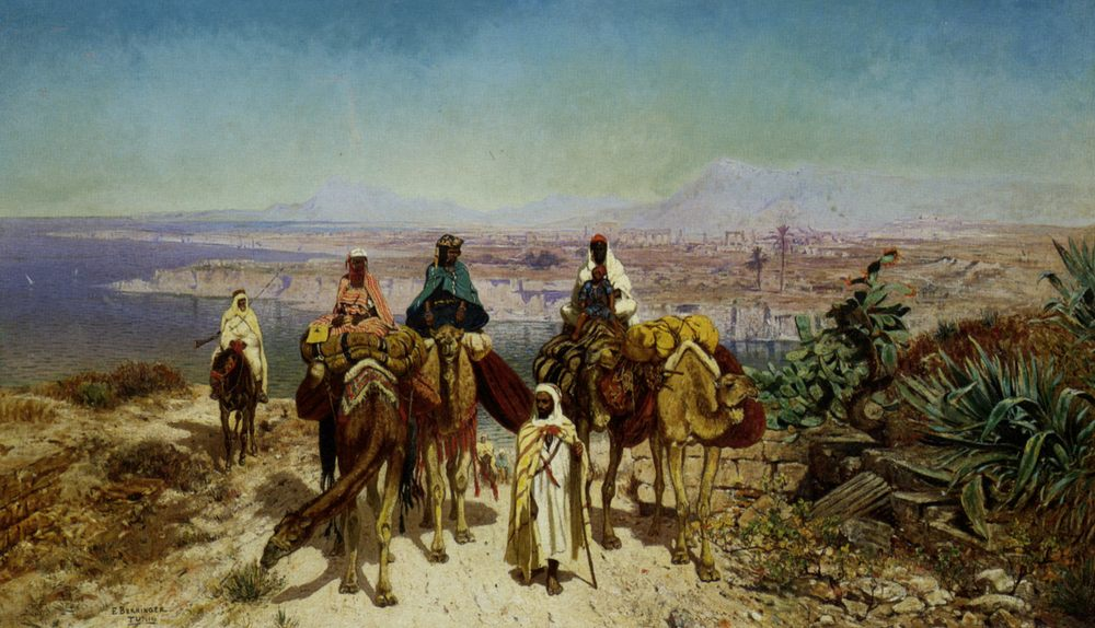 An Arab Caravan :: Edmund Berninger - scenes of Oriental life (Orientalism) in art and painting ôîòî