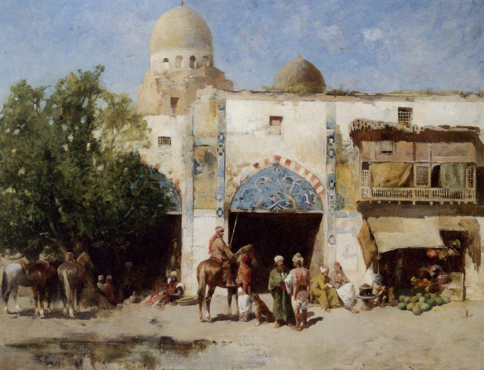Horses Before a Mosque :: Emile Regnault de Maulmain  - Oriental architecture фото