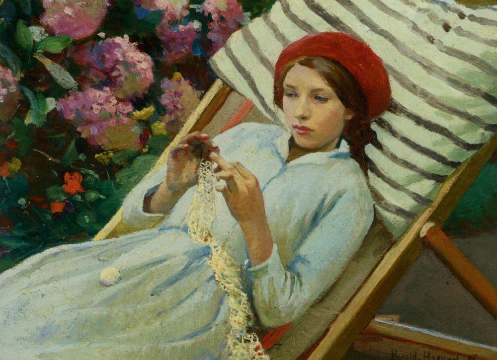 Girl with a Red Hat  :: Harold Harvey - 8 female portraits hall ôîòî