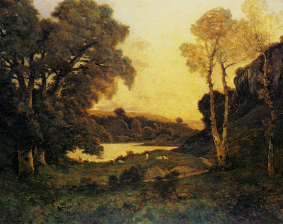 Goats grazing beside a lake at sunset  :: Henri-Joseph Harpignies  - Sunset and sunrise, sundown фото