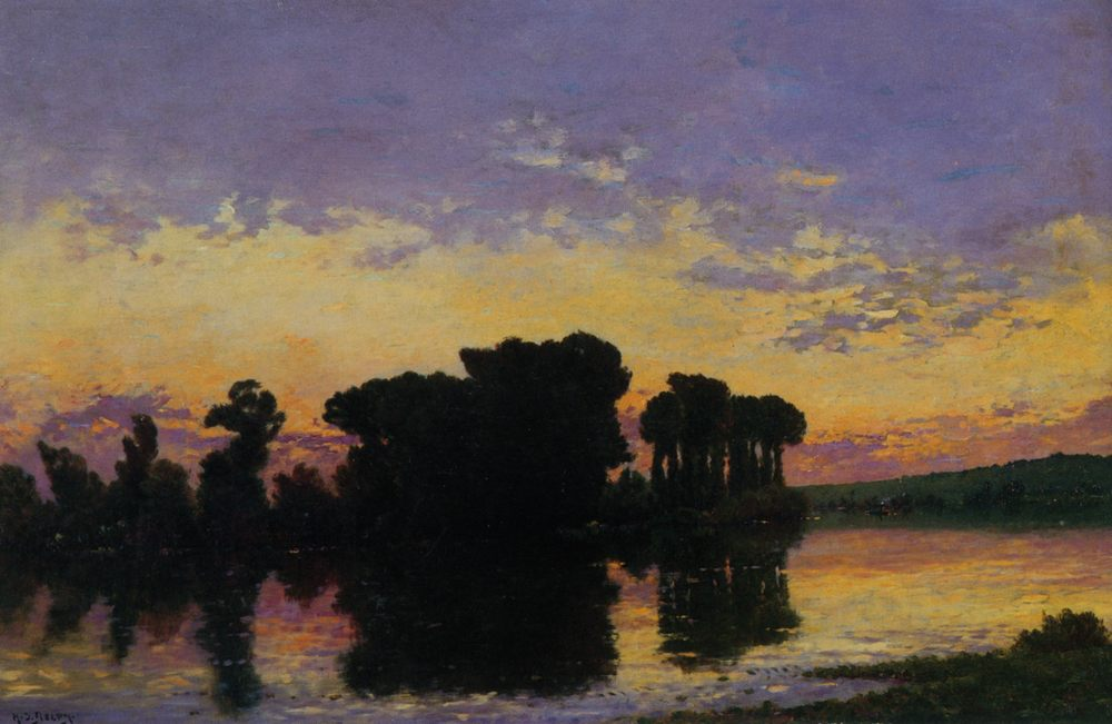 Setting sun on the Seine :: Hippolyte Camille Delpy - Sunset and sunrise, sundown ôîòî