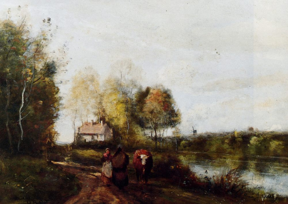 A road at the edge of leau :: Jean-Baptiste-Camille Corot - Village life ôîòî
