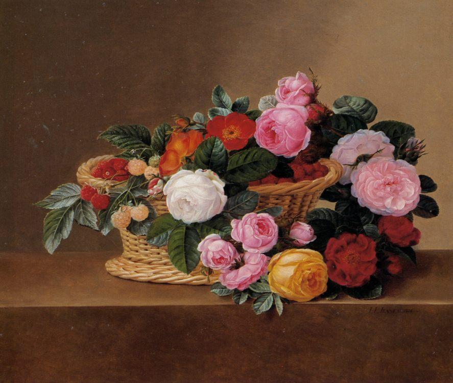 Basket of Roses :: Johan Laurentz Jensen - flowers in painting фото