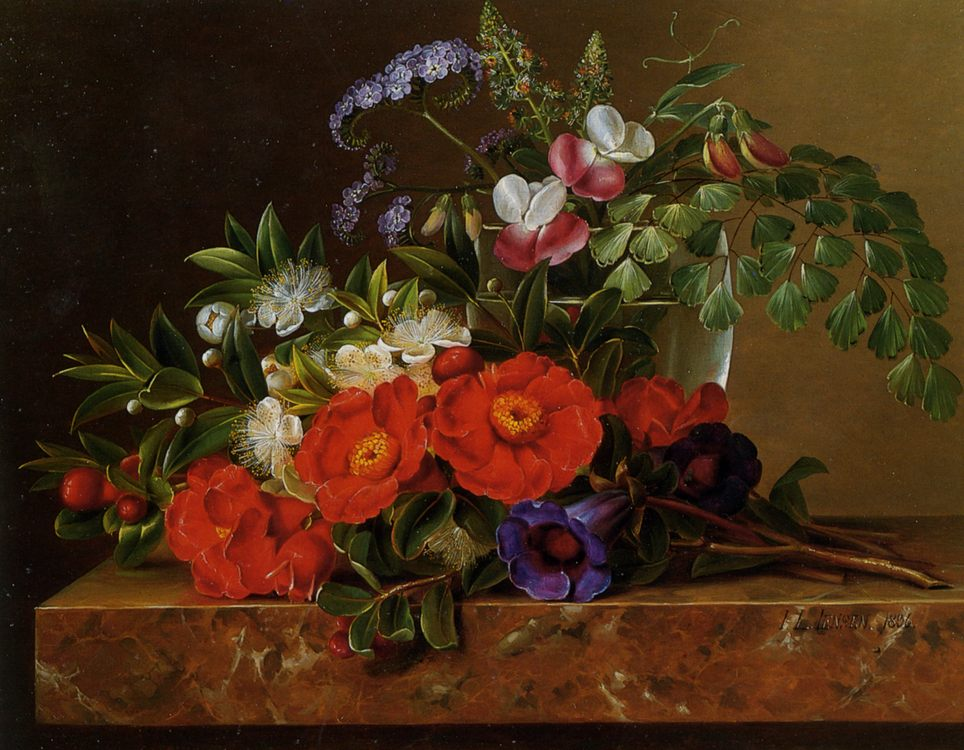 Still life with roses :: Johan Laurentz Jensen - flowers in painting фото