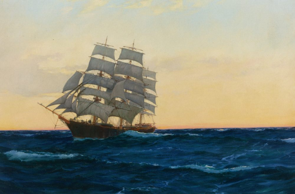 Sunset at Sea :: Montague Dawson - Sea landscapes with ships фото
