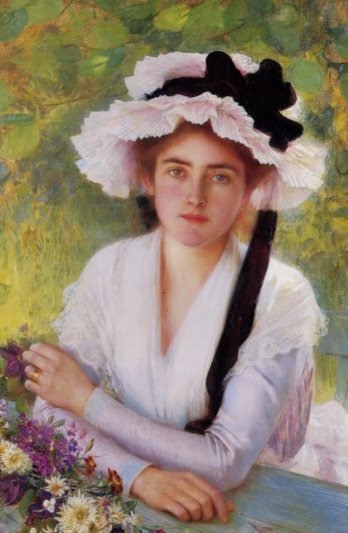 In The Garden :: Albert Lynch  - Young beauties portraits in art and painting фото