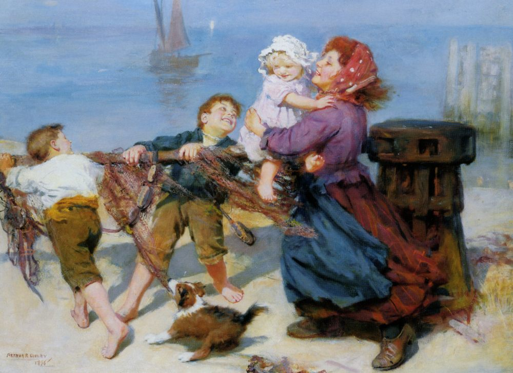 Heave Ho :: Arthur John Elsley  - Children's portrait in art and painting фото