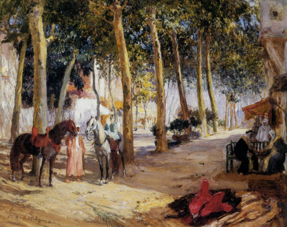 A Shady Street :: Frederick Arthur Bridgman - scenes of Oriental life ( Orientalism) in art and painting фото