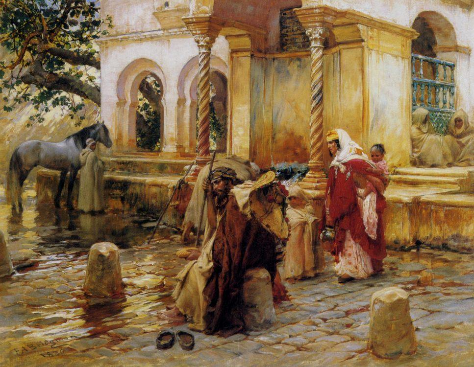 Fountain of Borkadem :: Frederick Arthur Bridgman - scenes of Oriental life (Orientalism) in art and painting ôîòî