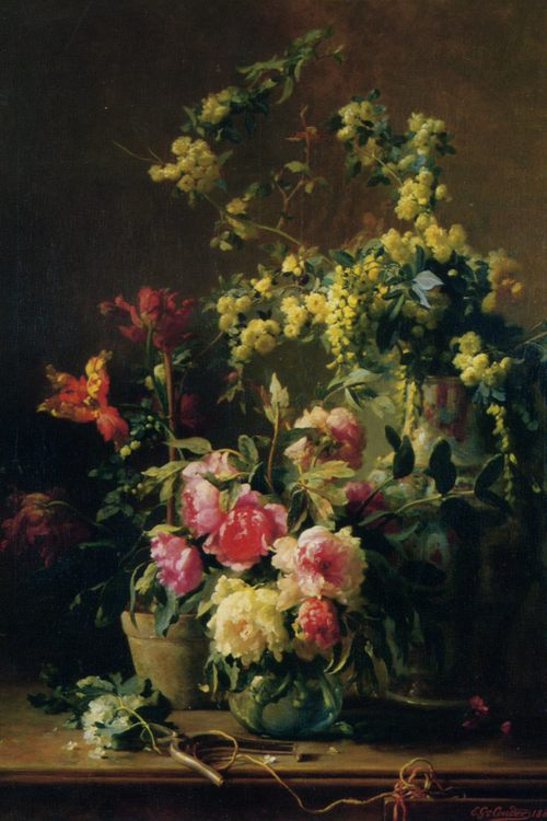 Still Life with Peonies :: Gustave Emile Couder - flowers in painting фото