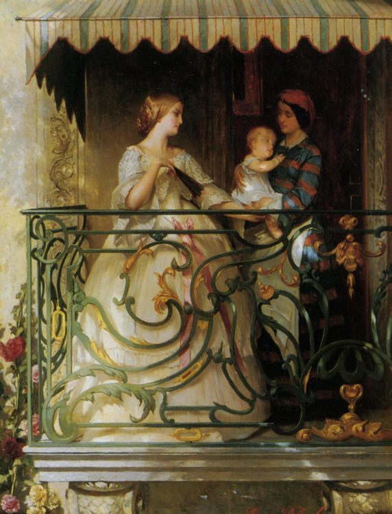 On The Balcony :: Gustave Leonhard de Jonghe - Woman and child in painting and art фото