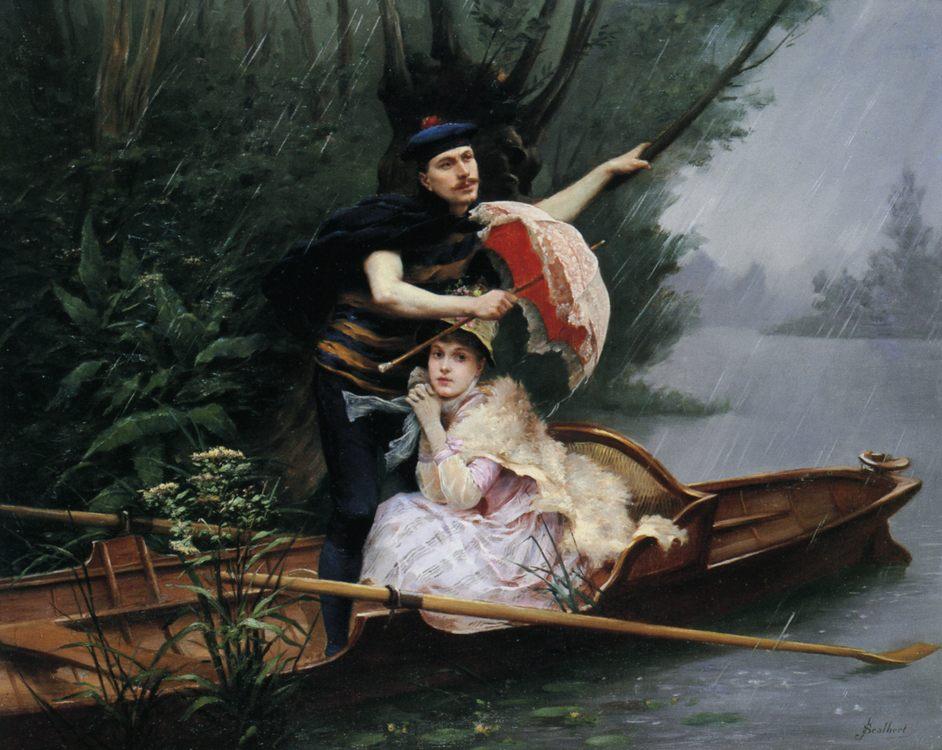 Summer Shower :: Jules Scalbert - Romantic scenes in art and painting ôîòî