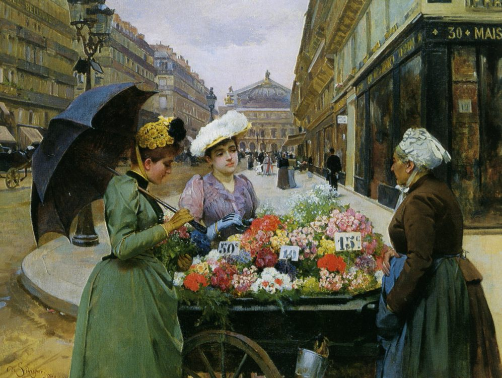 Street flower merchant :: Louis Marie de Schryver - Street and market genre scenes - paintings - masterpieces of art