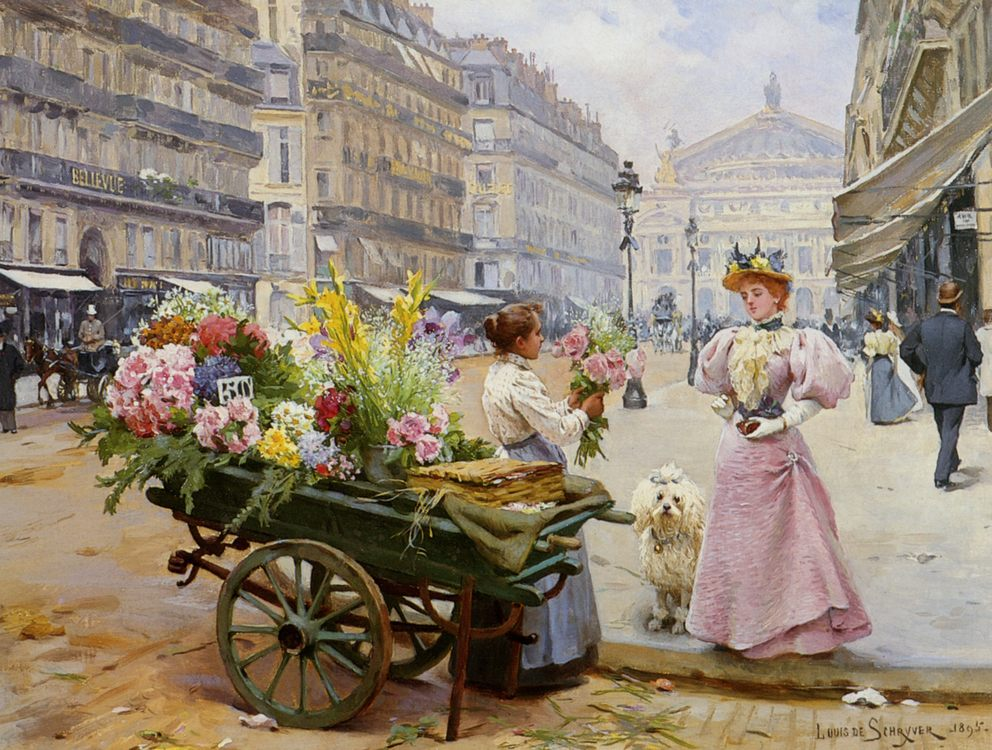 Mary at the flower merchant :: Louis Marie de Schryver - Street and market genre scenes фото