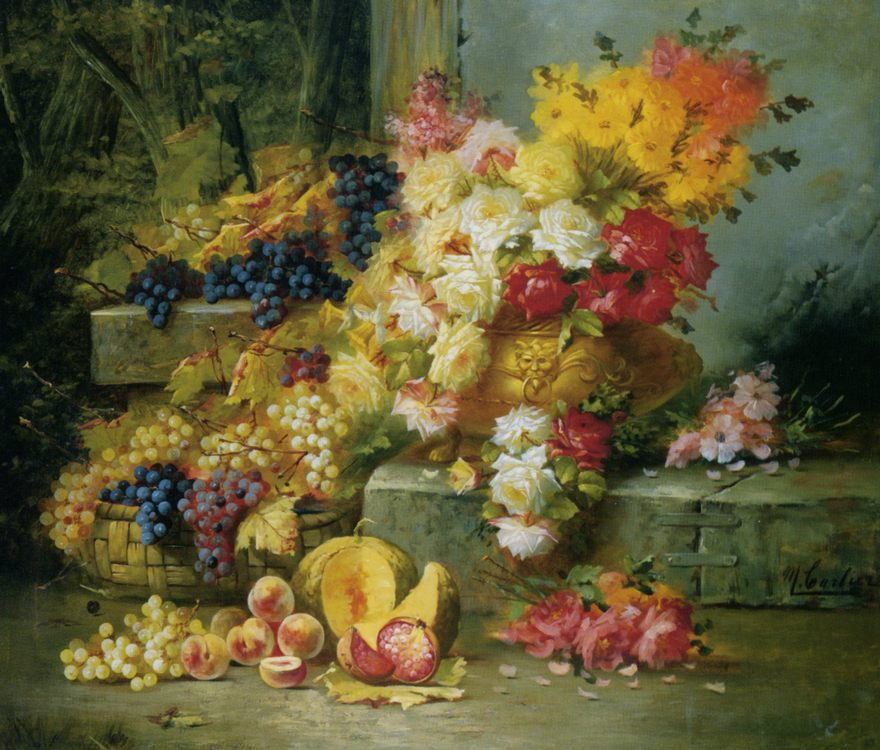 Still Life with Grapes :: Modeste Carlier - Still-lives with fruit фото