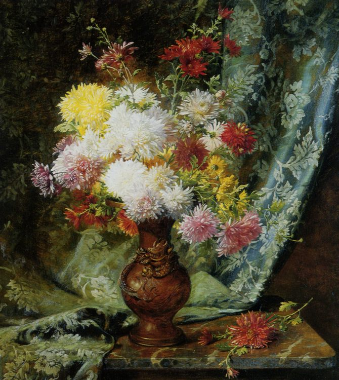 Still Life with Daises in Japanese Vase :: Olaf August Hermansen - flowers in painting ôîòî