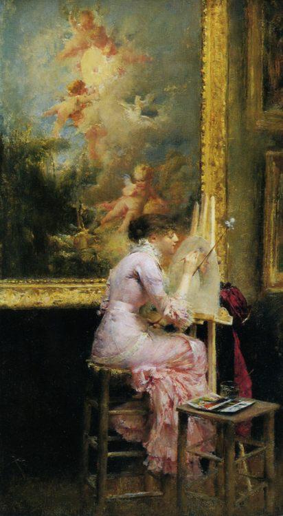 The pretty artist at the museum :: Pascal-Adolphe-Jean Dagnan-Bouveret  - Rich interiors ôîòî
