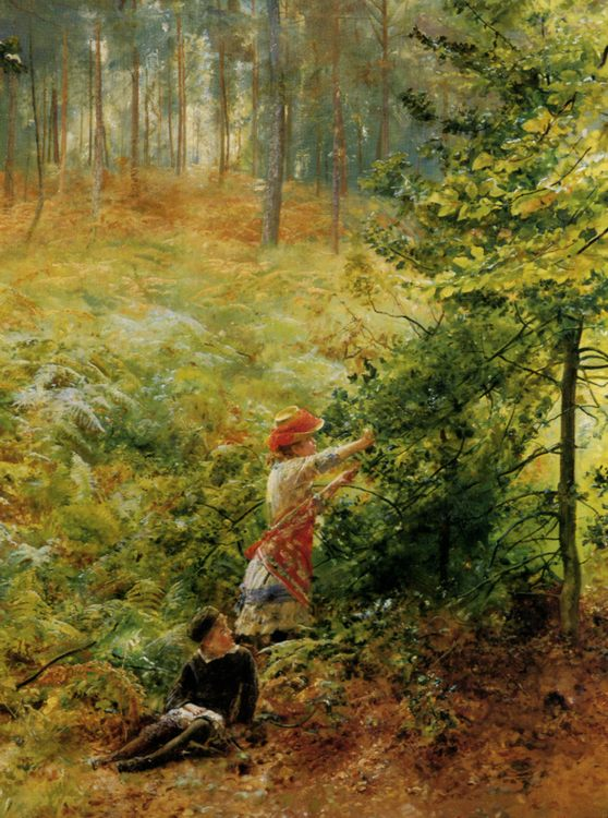 Picking Berries in the Woods :: Robert Ponsonby Staples - Children's portrait in art and painting фото