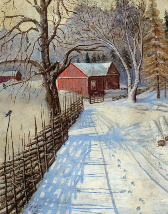 A Path to the Barn :: August Wilhelm Nikolaus Hagborg - winter landscapes ôîòî
