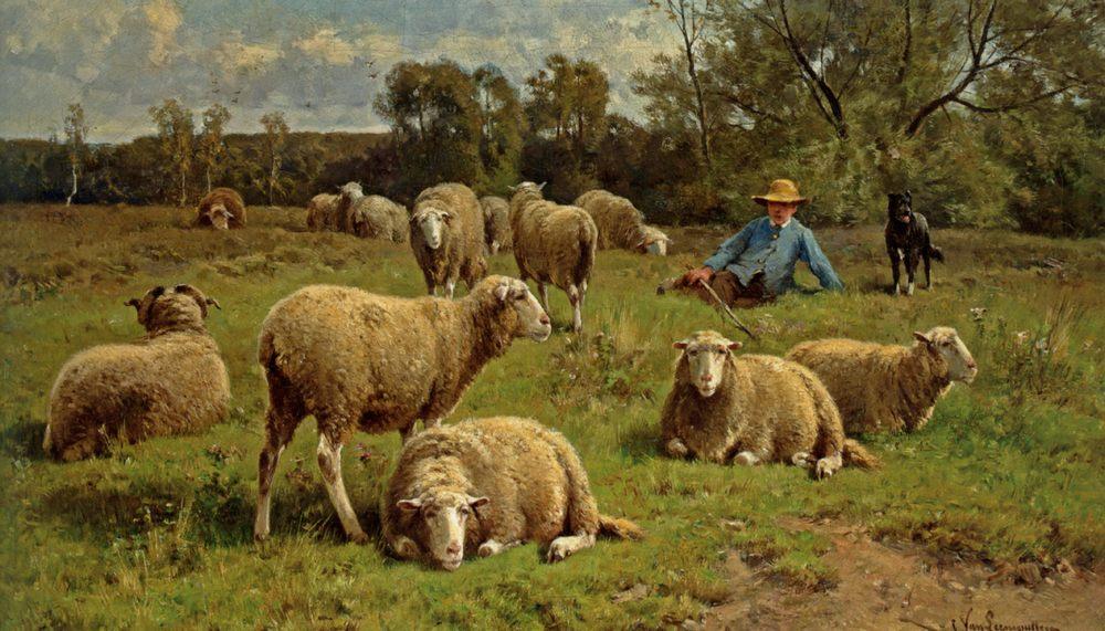 A Shepherd and His Dog Guarding a Flock of Sheep :: Cornelis van Leemputten - Village life фото