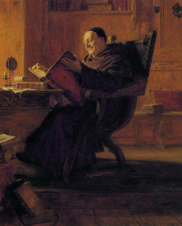 A Monk in the Library :: Eduard von Grutzner - Portraits of elderly men фото