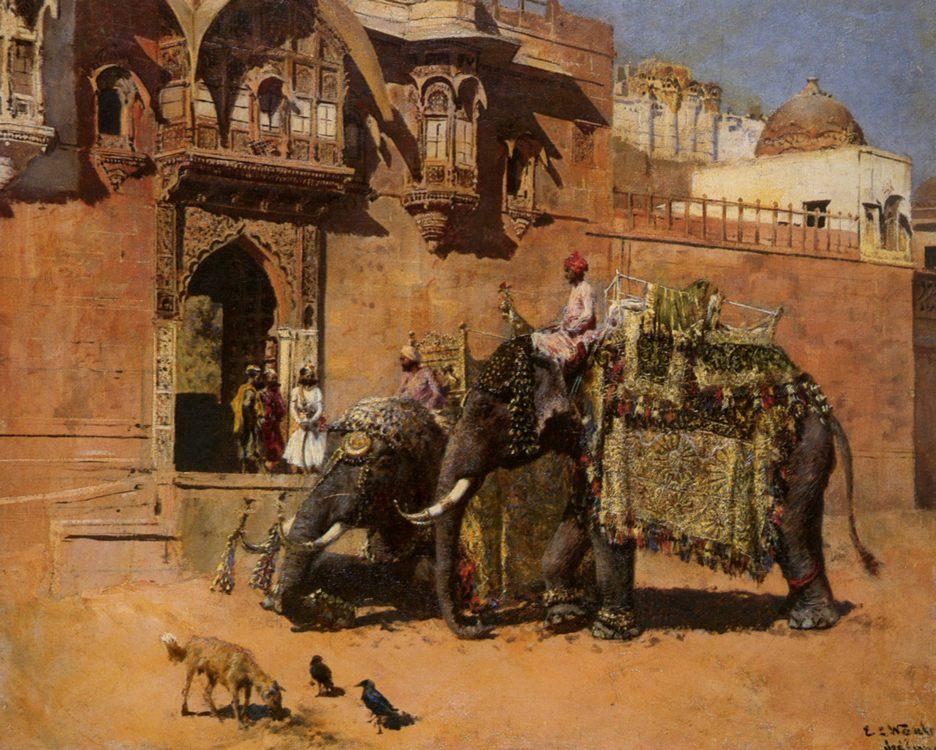 Elephants at the Palace of Jodhpore :: Edwin Lord Weeks - Oriental architecture ôîòî