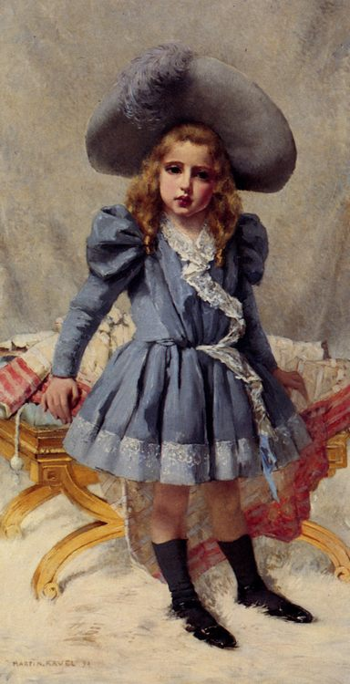 Little Girl in Blue :: Francois Martin-Kavel - Portraits of young girls in art and painting фото