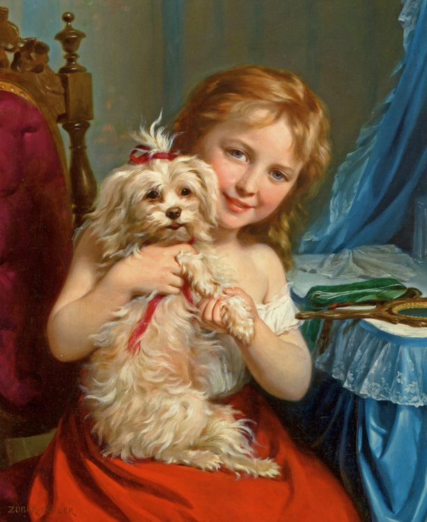 Young Girl with Bichon Frise :: Fritz Zuber-Buhler - Portraits of young girls in art and painting фото