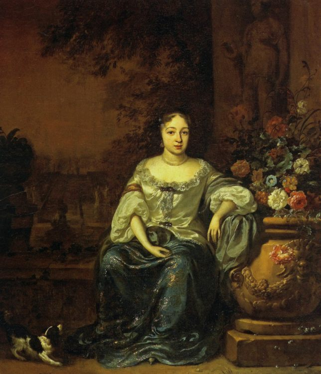 Portrait of a Lady Seated in a Garden with her Dog :: Jan Weenix - 3 women portraits 17th century hall фото