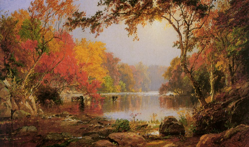 River Landscape in Autumn :: Jasper Francis Cropsey - River landscapes фото