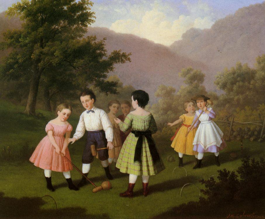Children Playing Croquet :: Johan Mengels Culverhouse - Children's portrait in art and painting фото