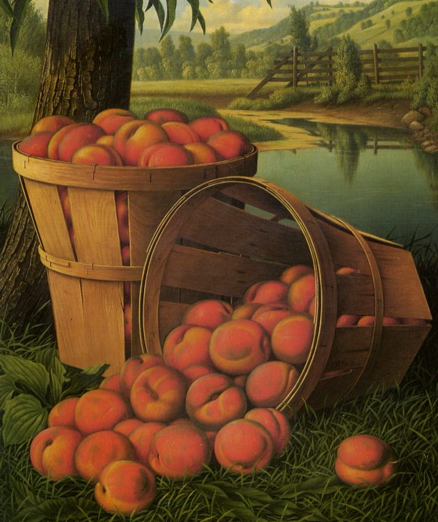 Bushels of Peaches Under a Tree :: Levi Wells Prentice  - Still-lives with fruit ôîòî