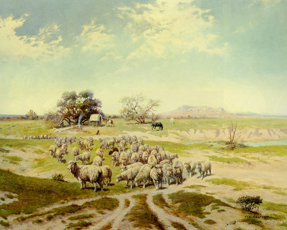 Shepherding Montana :: Olaf C. Seltzer - Summer landscapes and gardens ôîòî
