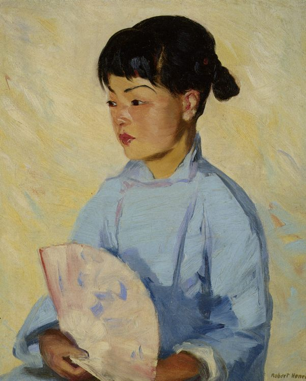 Chinese Girl with Fan :: Robert Henri - Portraits of young girls in art and painting фото