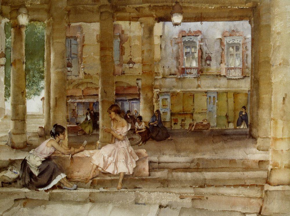 The Market Hall Cordes :: Sir William Russell Flint - Street and market genre scenes ôîòî