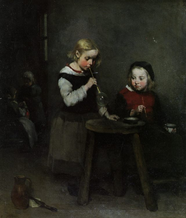 Children Blowing Bubbles :: Theodule Augustine Ribot - Children's portrait in art and painting фото