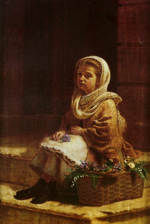 The Flower Girl :: Thomas Waterman Wood - Portraits of young girls in art and painting ôîòî