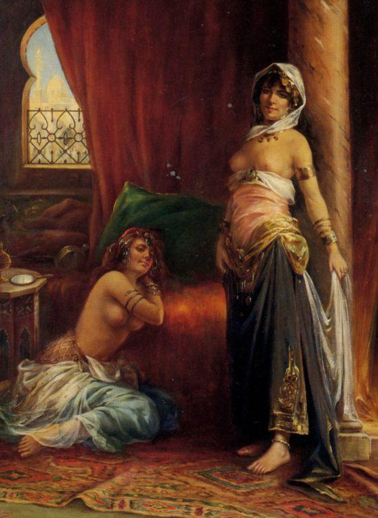 Two Harem Beauties :: Adrien Henri Tanoux - Arab women (Harem Life scenes) in art  and painting ôîòî