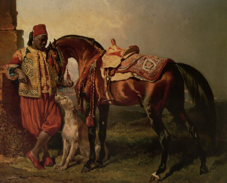 African Groom Holding :: Alfred Dedreux  - Horses in art фото