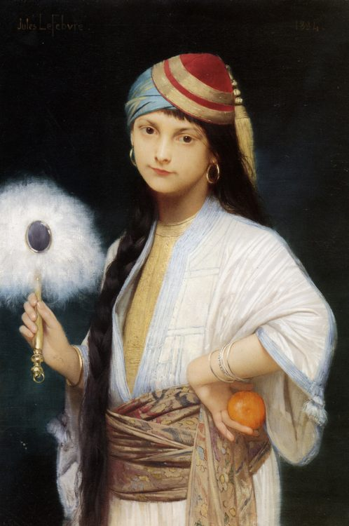 The Feathered Fan :: Jules Joseph Lefebvre - 7 female portraits ( the end of 19 centuries ) in art and painting фото