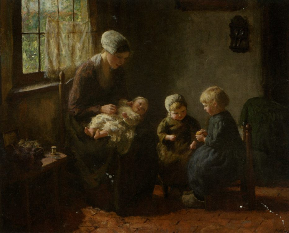 Happy Family :: Bernard Jean Corneille Pothast - Woman and child in painting and art фото